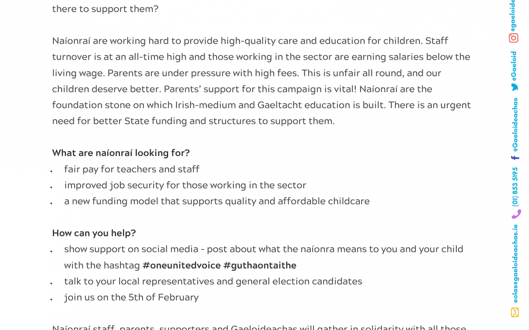 Flyer for Parents: All You Need to Know About the Early Years Protest, 5th February