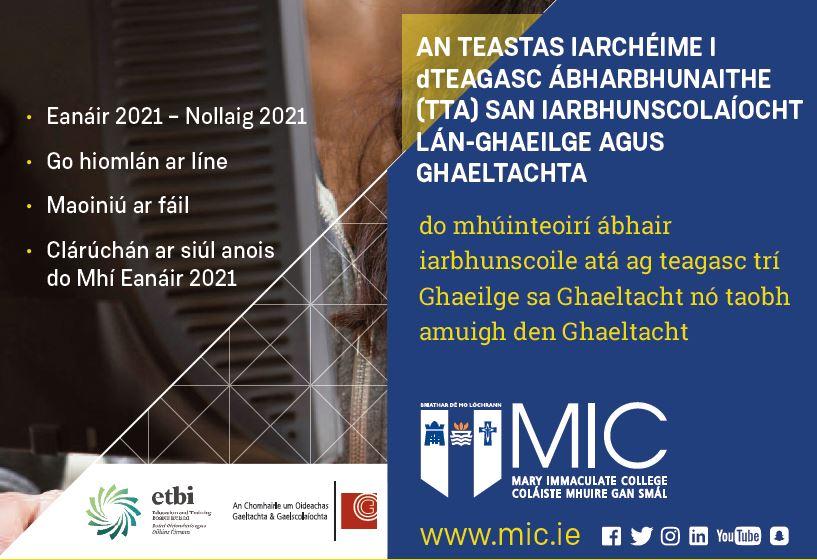 TTA san Iar-bhunscolaíocht Lán-Ghaeilge & Ghaeltachta