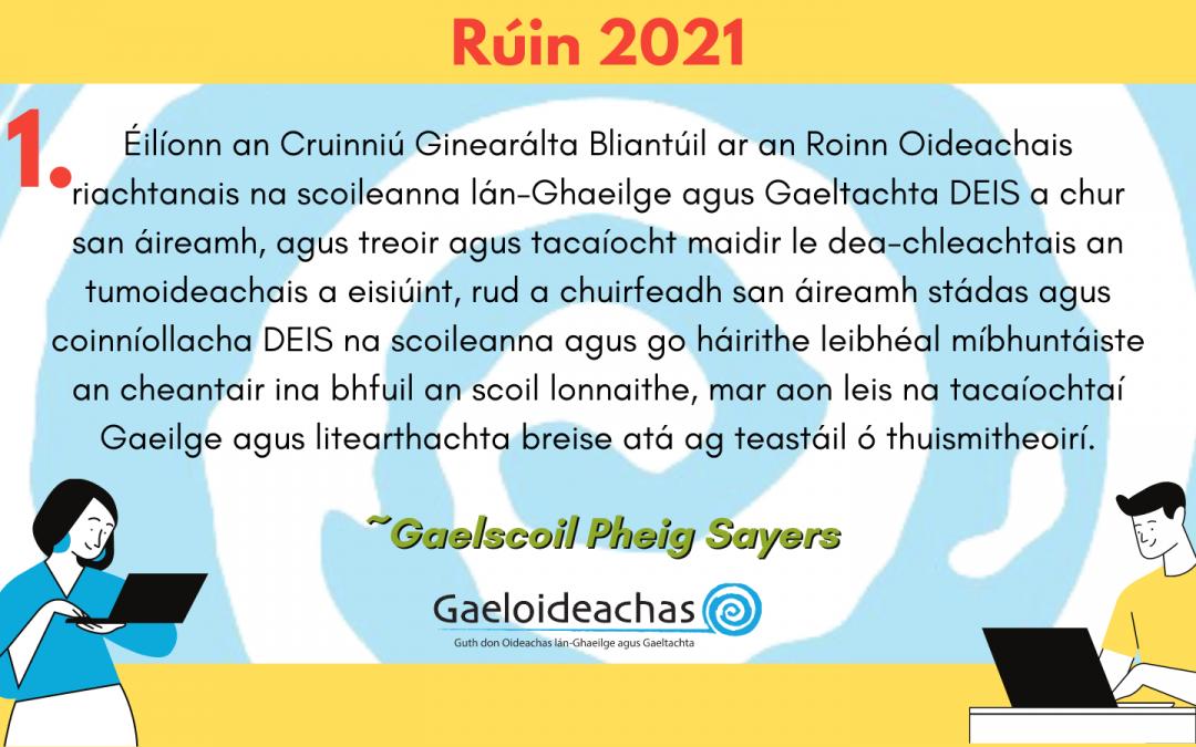 Rúin 2021: Scoileanna DEIS, oiliúint múinteoirí, cúntóirí RSO