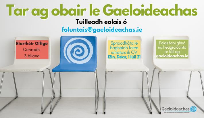 Riarthóir Oifige ag teastáil, Gaeloideachas